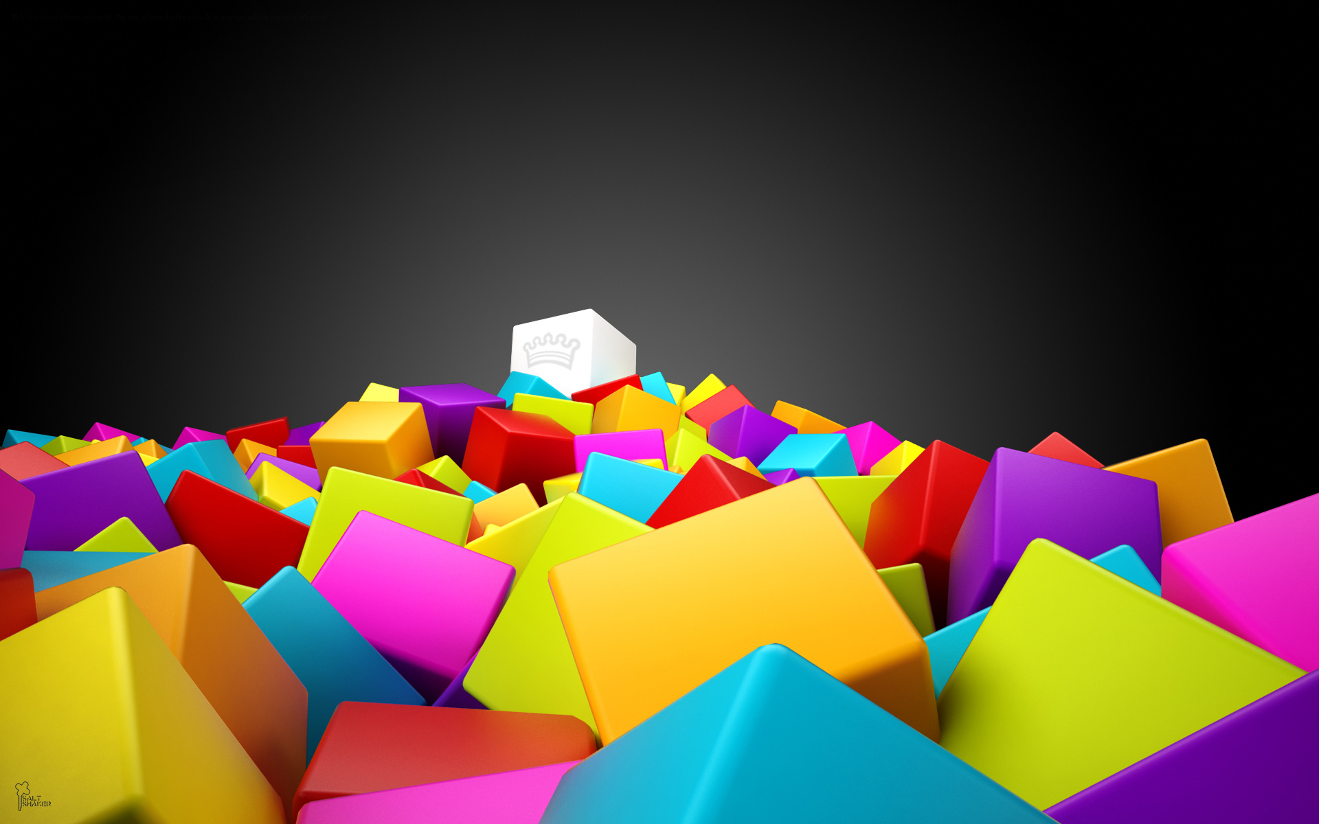 3d Colorful Squares Wide