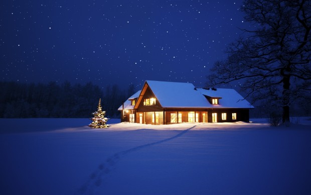 Cool winter night wallpaper