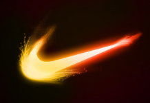 Nike Logo Fire Background free download