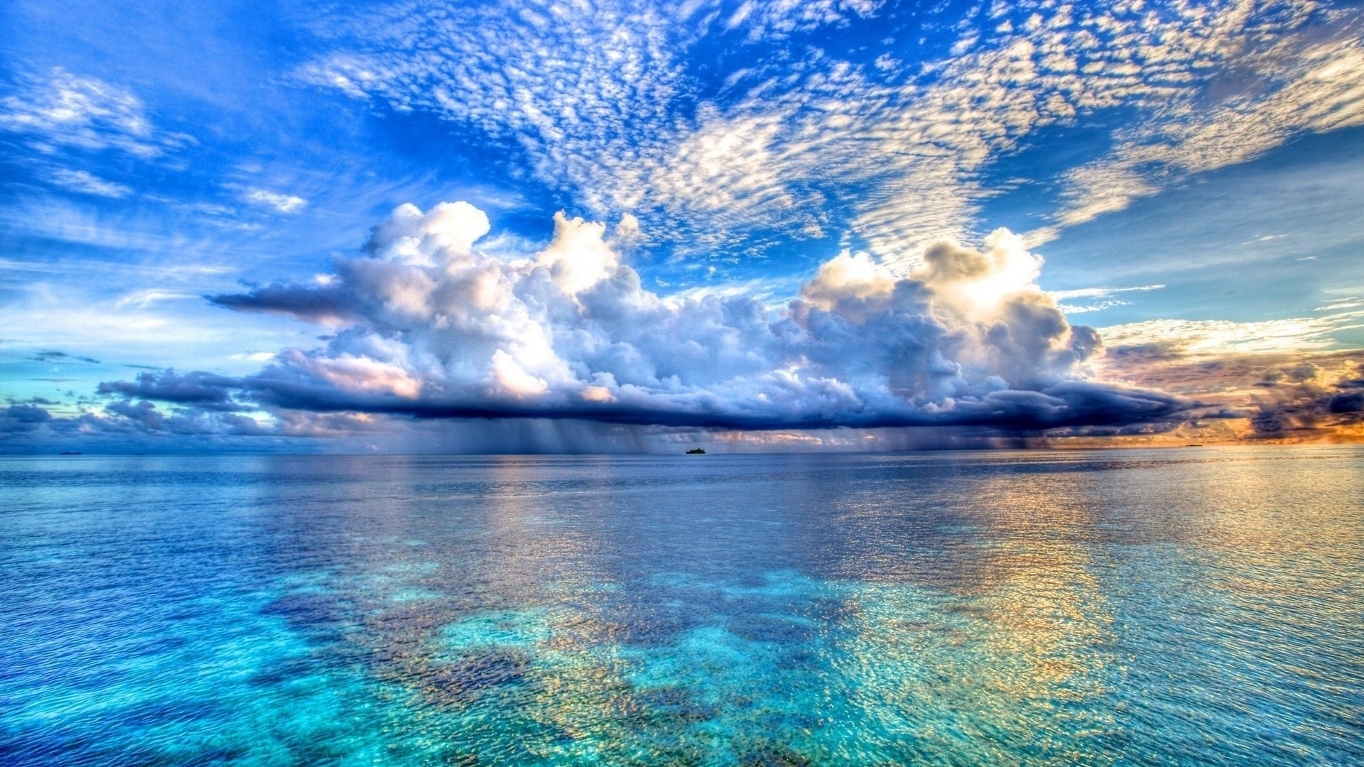 Nature blue sea and clouds backgrounds wallpapers HD.