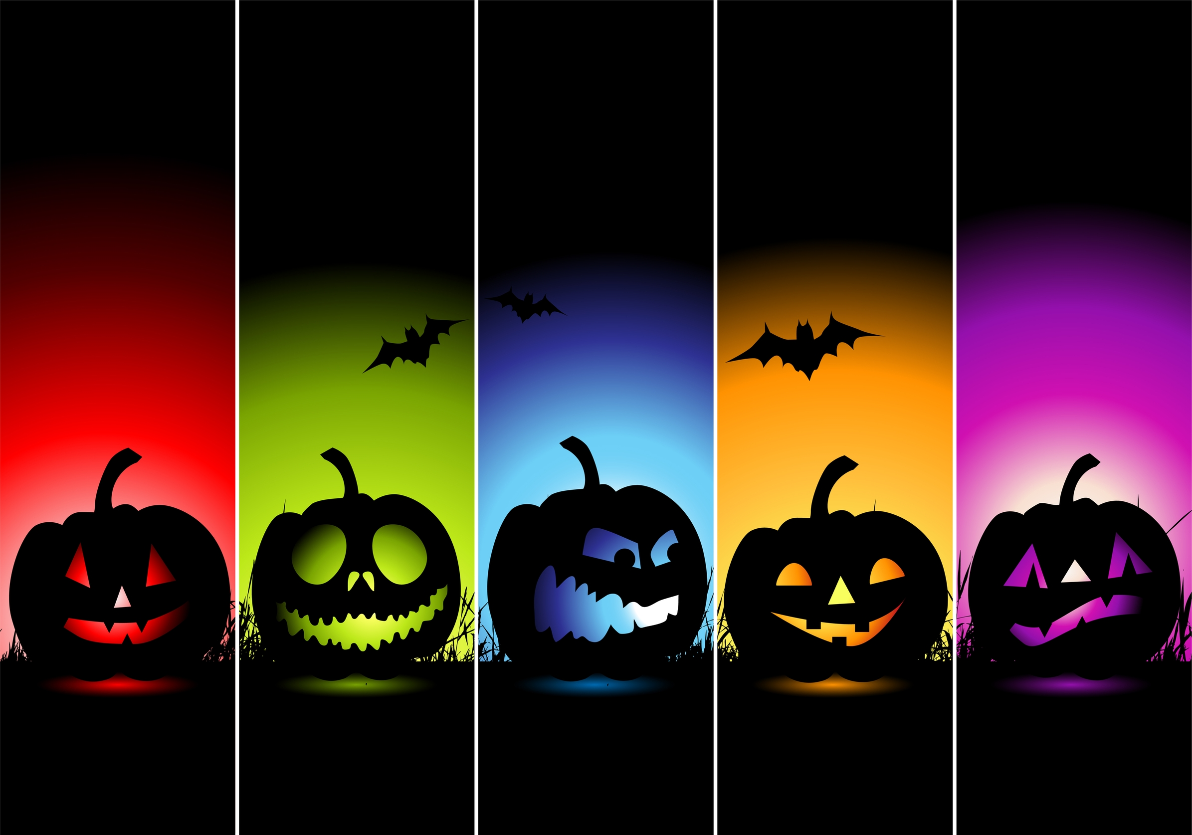 Colorful Halloween Horor Wallpaper.