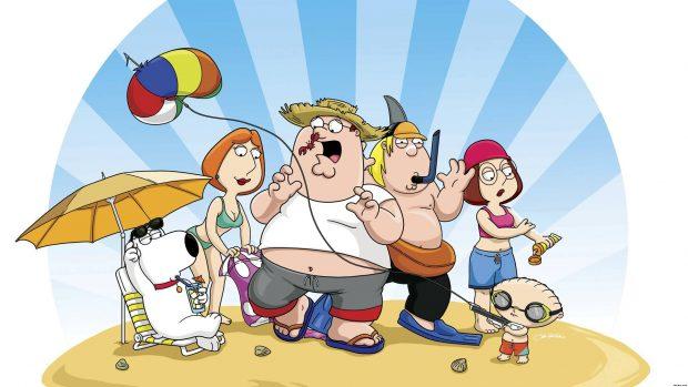 Family Guy on the beach.