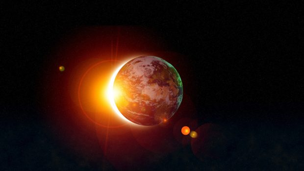 Solar eclipse from space gif photos.