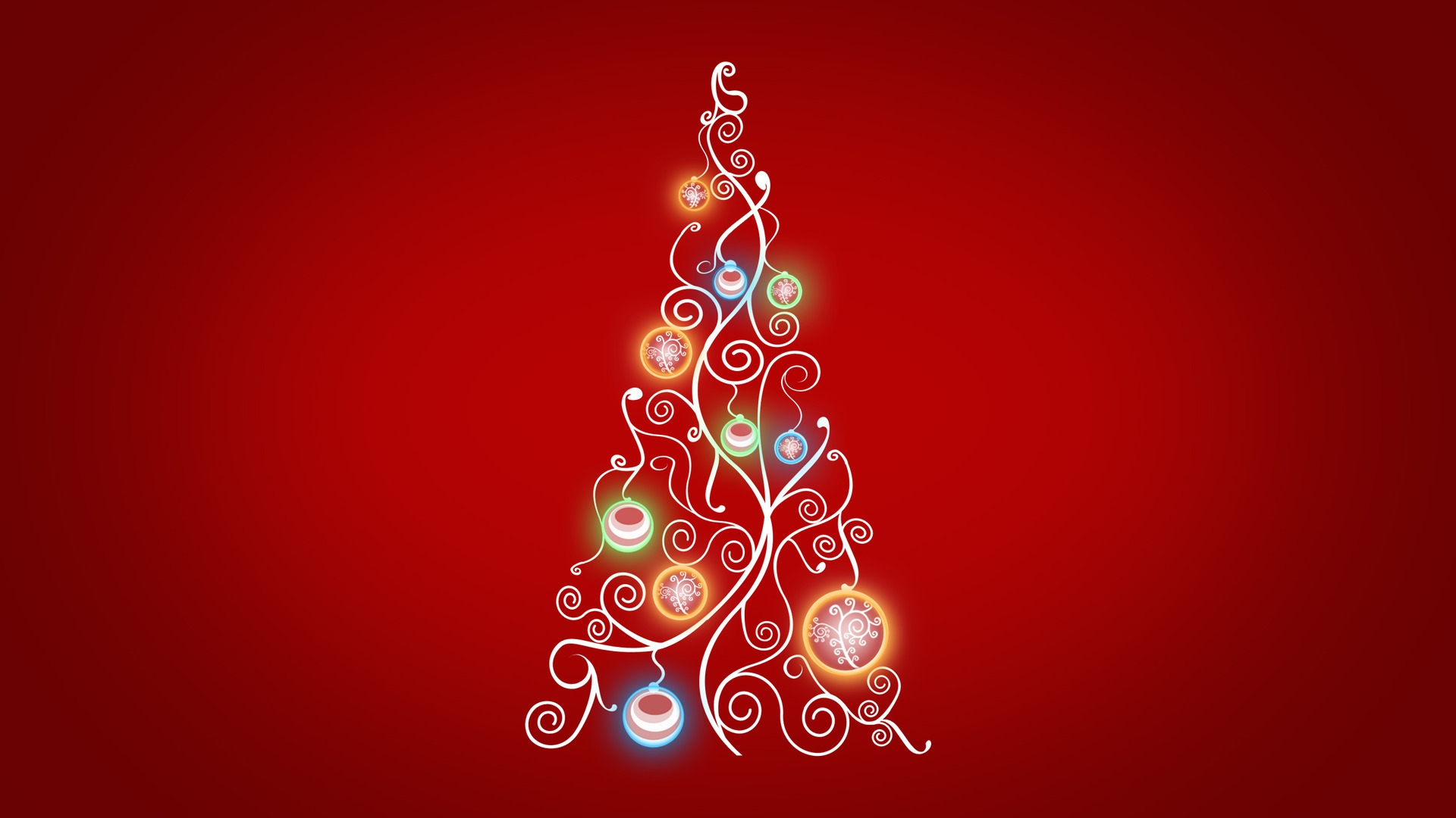 1920x1080 Red Christmas Trees Background.