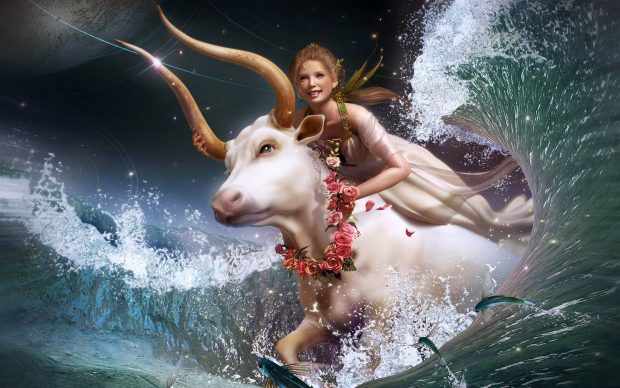 Beautiful Aries and Girl Background.