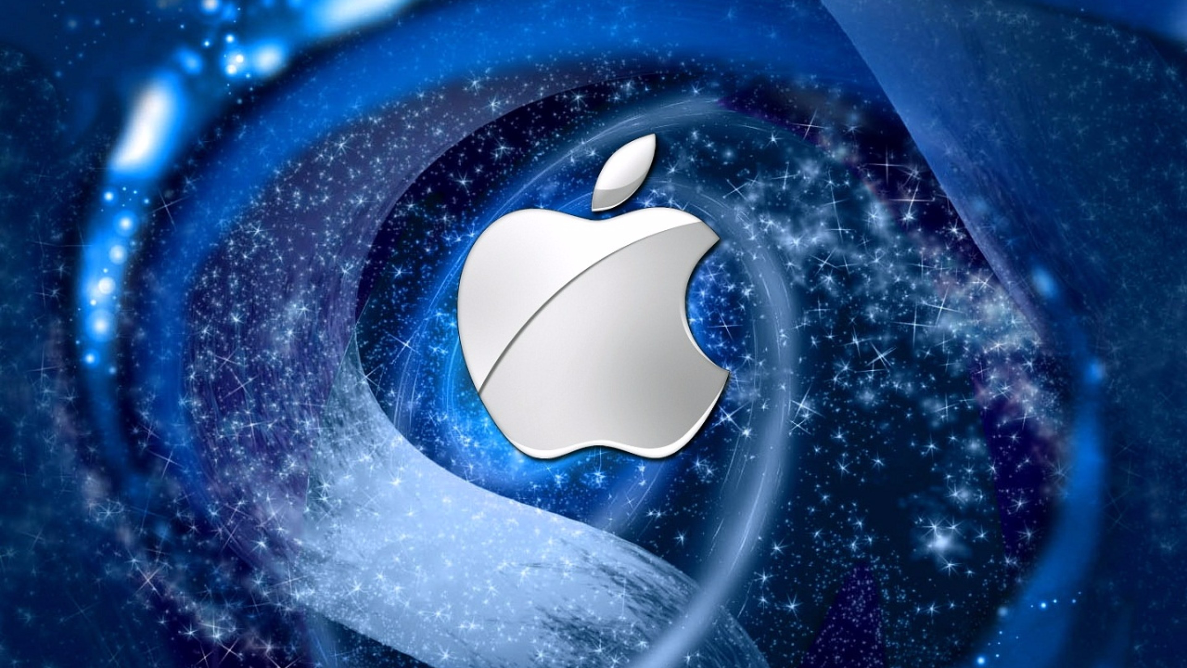 Creative Blue Apple Logo 4K Wallpaper