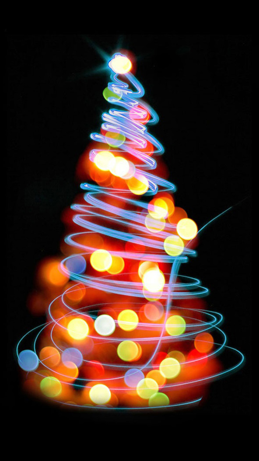Glowing Lights Christmas Tree iPhone Wallpapers