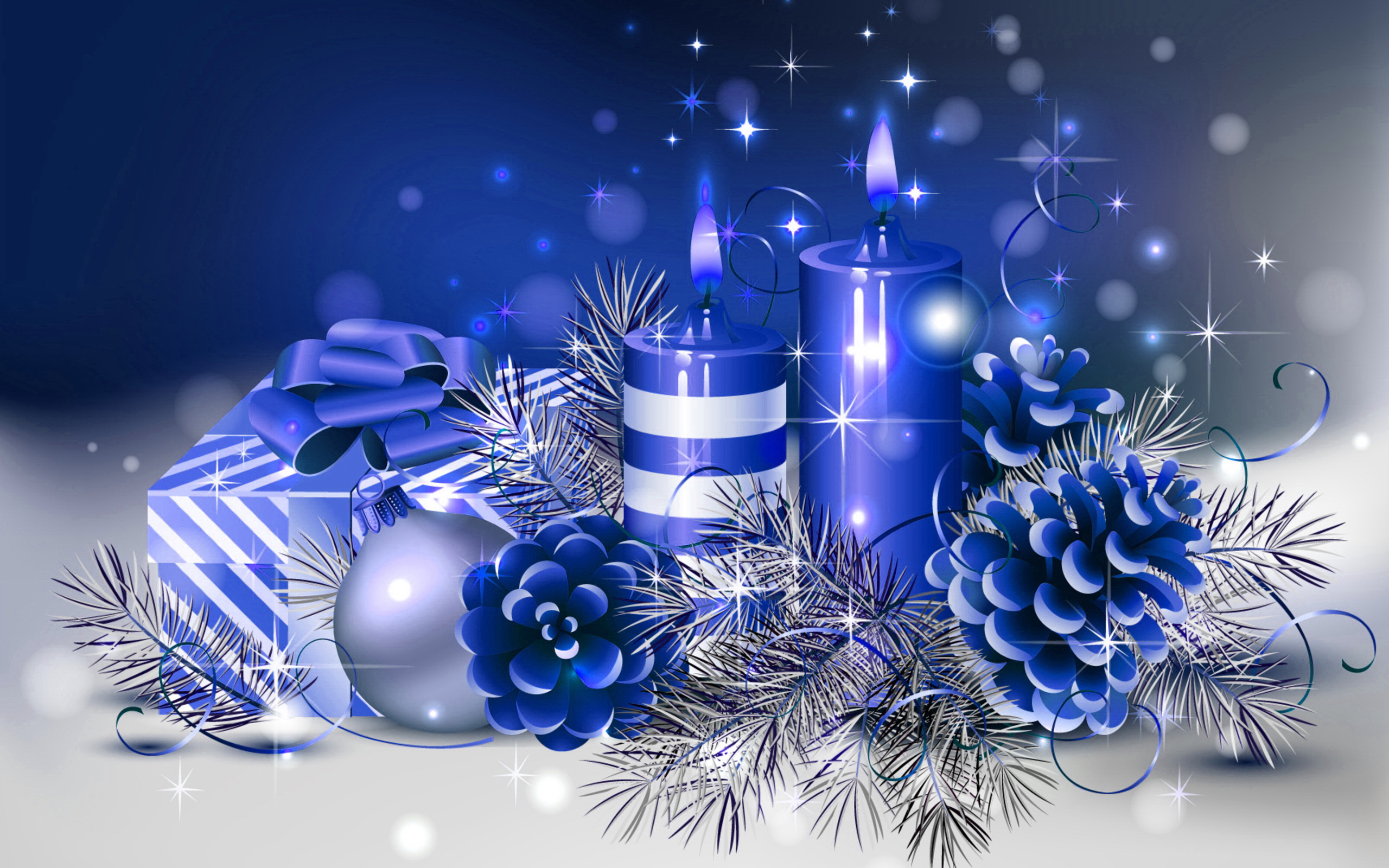 HD Blue Christmas Wallpaper