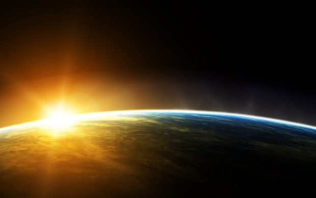 Desktop earth and sun hd wallpaper.
