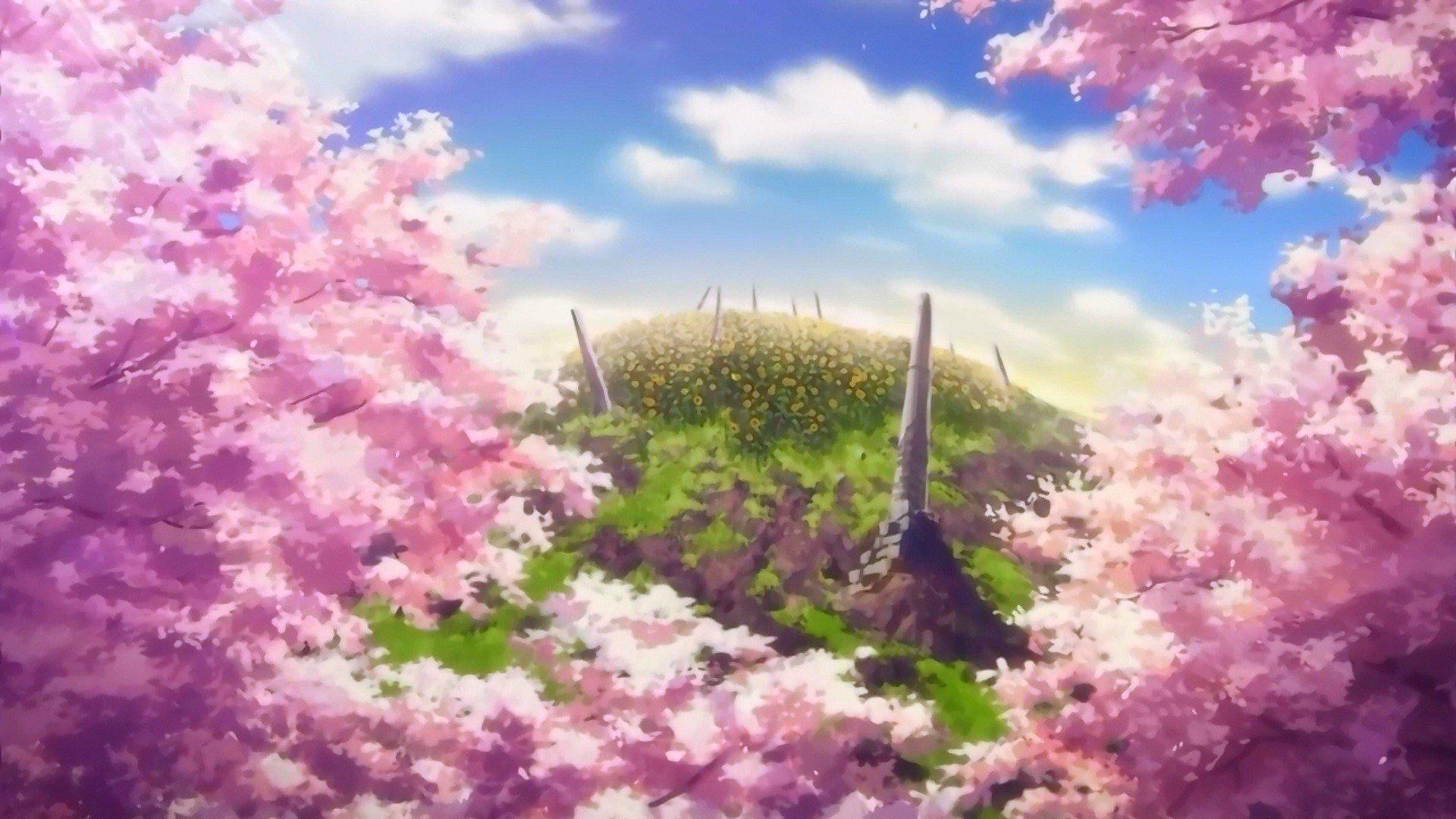 Anime Cherry Blossom Desktop Wallpaper Pixelstalk Net
