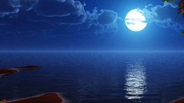 Oceans blue moon night sea wide screen 1920x1080.