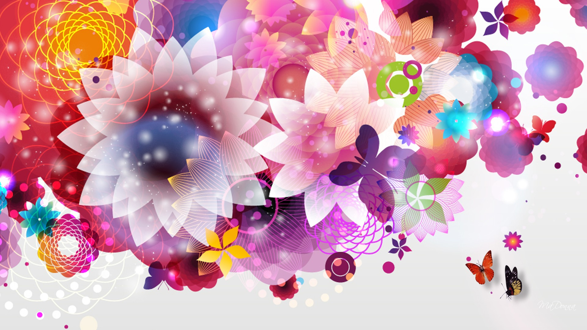bright abstract flowers wallpaper.