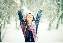 Happy girl snow winter wallpaper.