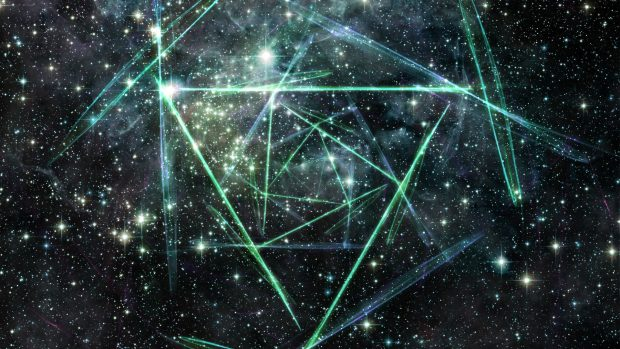 Abstract Space Triangles Background.