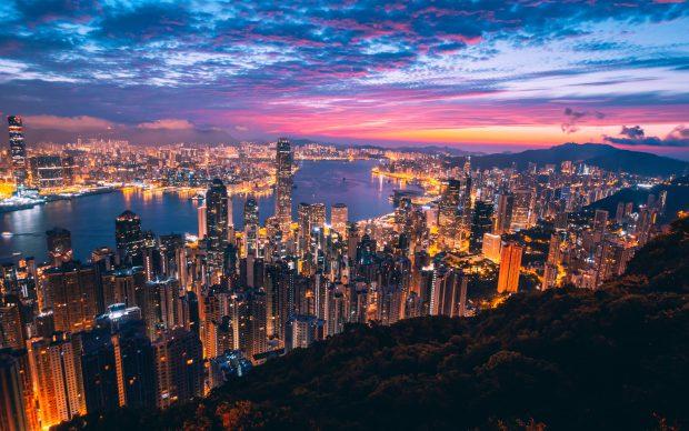 Beautiful City Sunset Wallpaper 4K.