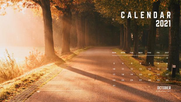 October 2021 Calendar Fall Wallpaper HD for Desktop.